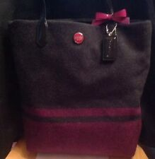 COACH Stripe Wool 24665 Berry Pink Grey Black Patent Leather Tall N/S Tote  EUC