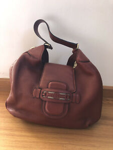 GUCCI Red Pebbled Leather Dressage Hobo Bag