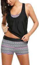 Hotouch Womens Swimwear Black Size Large L 3-pc Printed Takini Set $68- 871