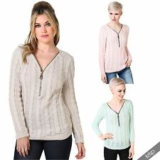 Zip Woolen Long Sleeve Women's Jumpers & Cardigans
