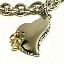 """SCOTT KAY 7.5"""" 16g Sterling Silver Heart 14k Gold Rings Charm Bracelet Women NWT"""
