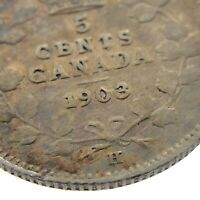 1903 H Canada 5 Cents Small Silver Circulated Canadian Edward VII Coin M894