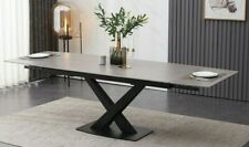 Grey Ceramic Dining Table Rectangle Extends 1.8 - 2.5m Modern