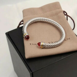 David Yurman cable Sterling Silver bracelet Red 7mm.