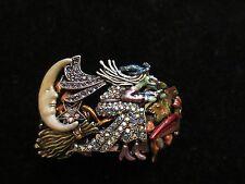 Kirks Folly Halloween Cuff Bracelet Rhinestone Crystal Season Witch Silver Tone