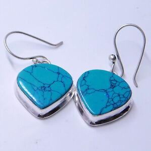 Tibetan Turquoise 925 Sterling Silver Plated Handmade Jewelry Women Earring 8 Gm