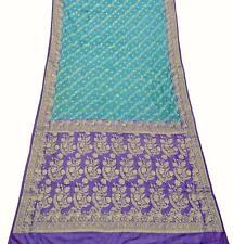 100% Seide Saree Vintage Blau Gewebte Blumen Design Sari Nähen Stoff PSSI702