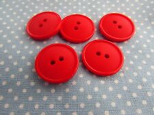 20mm Matt Lipped 2 Hole Buttons in Red Packs of 2, 5 or 10
