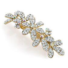 Diamante AB Cristal Oro francés Clip Pasador de pelo clásico Boda Baile de graduación Noche