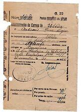 RESGUARDO GIRO  31 DIC 1922 UBEDA JAÉN