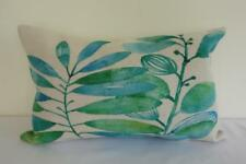 Oblong Hamptons Watercolour Green & Teal Leaves Linen Cushion Cover 30x50cm