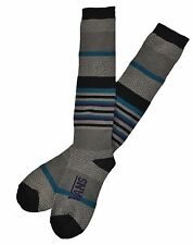 VANS ONE TWO STEP Gray Heather Blue Black Teal Stripe Woman's Socks