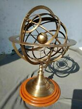 Brass Armillary Sphere Engraved Nautical Astrolabe World Globe 22 Inch Wood Base