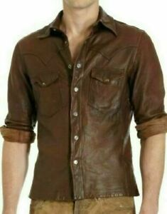 Leather Sheep Leather Shirt Brown Wax Soft Leather