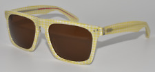 NEW SUNGLASSES MOSLEY TRIBES LYNDEL YELG YELLOW WHITE GINGHAM CHECK / BROWN