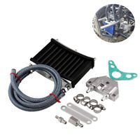 Motorcycle CNC Aluminum Engine Oil Cooler Cooling Radiator Kit Silver Universal