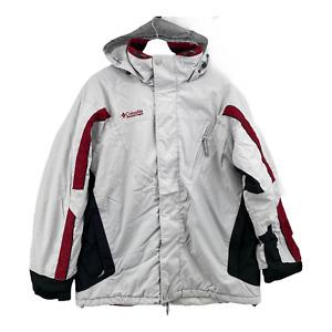 Columbia Ski Snow Jacket Coat Men's Size Large White Black Red Snowboard Hooded