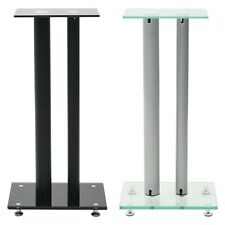 Tempered Glass Speaker Stands 2 Pillars Design Free Standing Black White Pair