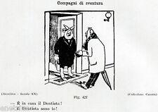 DENTISTA CON MAL DI DENTI. Vignetta Umoristica. Dentiste. Dentist. Zahnarzt.1929