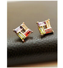 New 18K GOLD Filled Multi Color Cubic Zirconia Square Stud Earrings Free Postage