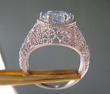 2.60ct AQUAMARINE RING w/ HAND CARVED FINE DETAILS, ART DECO STYLE  Size 6.75