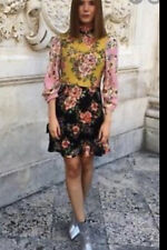 Zara Floral Patchwork High Neck Collar Dress With Bow XS