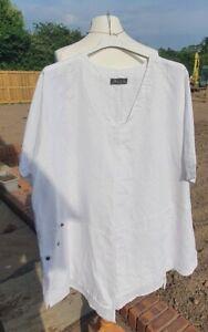 LADIES KASBAH LAGENLOOK WHITE LINEN TUNIC TOP XL 22/24