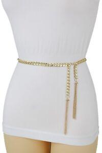 Wrap Around Women Fashion Belt Gold Metal Chain Hip High Waist Fringe Tassel M L