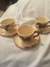 Vintage Franciscan Apple Set of 3 Small Tea Cups and Saucers Made in California