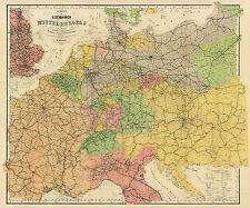 Central Europe Railway Historical Map from 1884 (Flemming) Vintage Print Poster