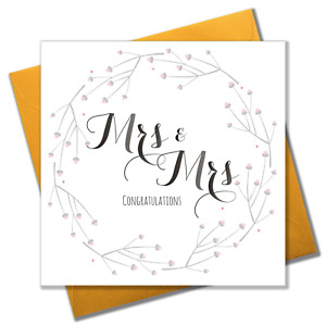 Wedding Card, Flowers, Mrs & Mrs