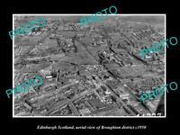 OLD POSTCARD SIZE PHOTO EDINBURGH SCOTLAND AERIAL VIEW BROUGHTON DISTRICT c1950