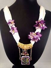 Handmade White Silk Purple Needle Lace Flower Hand Painted Ceramic Bead Necklace
