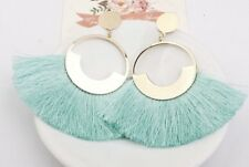 Gold Turquoise Long Drop Tassel Fashion Earring Boho Festival Party Boutique Uk