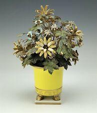 Italy Handpainted Enamel Metal Multi Floral Flower Bouquet in Porcelain Vase Csx