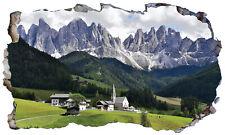 Dolomites Italy Mountains 3D Magic Window Wall Art Self Adhesive Vinyl Poster