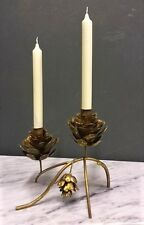 Small Gold Metal Pinecone With 2 Candle Holders Christmas Decorative Tableware