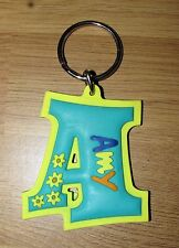 Rubber Name Key Fob Key Ring Green / Yellow Amy - A Shape