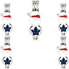 Enamel Xmas Snowman Beads Cage Locket White Aroma Diffuser 5X-K1101