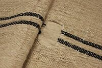 Vintage GRAIN SACK grainsack BLACK patched rustic RARE STUNNING linen bag