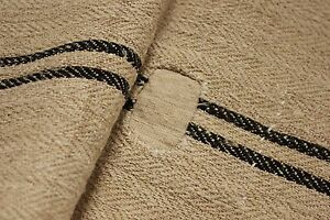 Vintage GRAIN SACK grainsack BLACK striped patched rustic RARE STUNNING linen
