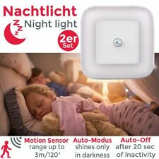 2er Set Steckdosen-Lampen LED Treppen-Leuchte Nacht-Licht Bewegungsmelder Sensor