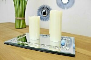 Diamante Candle Plate Rectangle Glass Mirrored Tray Decorative Holder Jewels