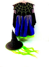 Disguise Girls Witch 3 Piece Halloween Costume Hat Hair Spider Collar Dress 3/4T