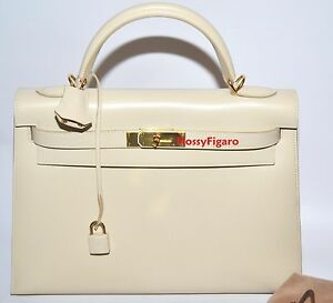 HERMES KELLY 32CM SELLIER PARCHMENT BOXCALF LEATHER GOLD H/W AUTHENTIC PRISTINE