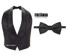 New Mens Black Satin Tuxedo Vest BowTie Black Tie Set Fit All Low Cut S M L XL