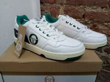 SERGIO TACCHINI PC84 100% LEATHER SNEAKERS WHITE/NAVY/GREEN, NEW! CASUAL