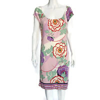 ELIE TAHARI Floral Lavender Rose Silk Jersey Cap Sleeve Dress Sz - M