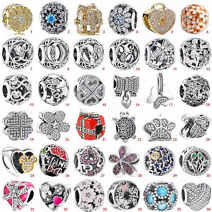 925 European sterling CZ silver charms pendant bead For bracelets chains bangles