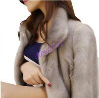 Women Luxury Mink Fur Furry Warm Thick Long Coat Parka Outwear Casual Winter